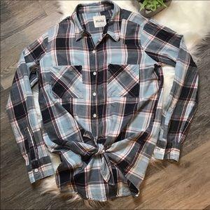 Mudd Blue Plaid Flannel Button Down Shirt